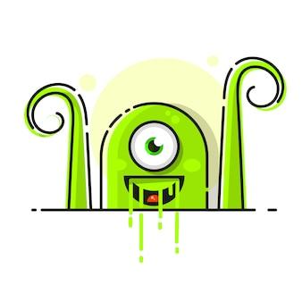 Zielony drobnoustrój, bakteria ikona na białym tle