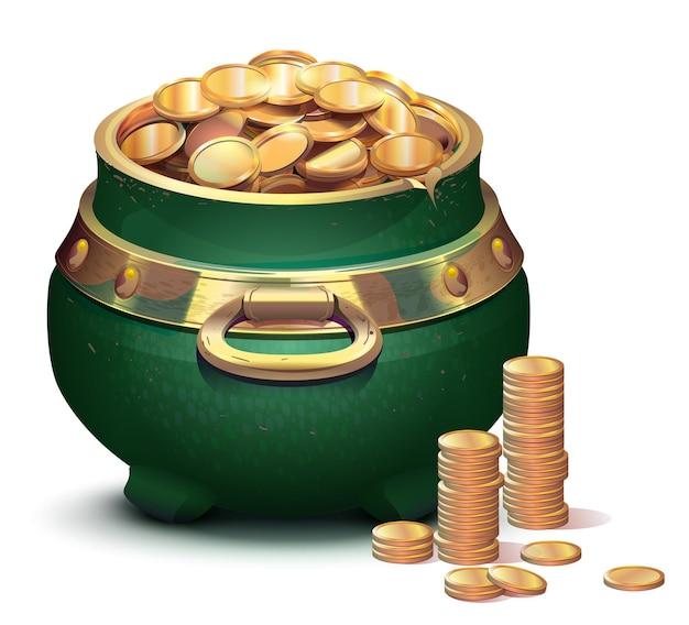 Zielony duży kocioł pełen złotych monet. symbol puli wakacje patrick day