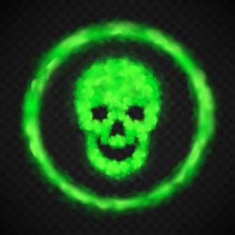 Zielony dym czaszki znak ostrzegawczy niebezpieczeństwo