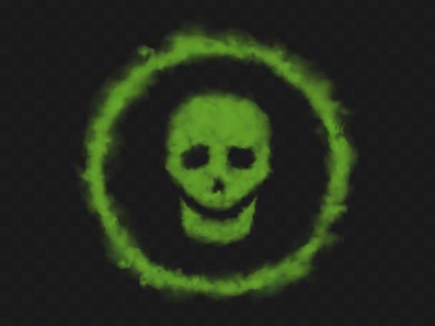 Zielony dym czaszki znak w okręgu