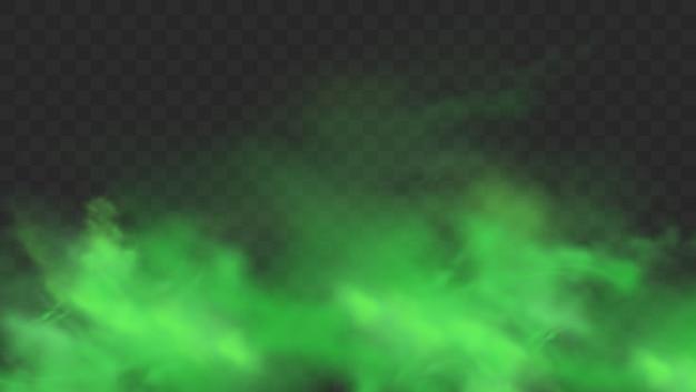 Zielony dym na przezroczystym tle. realistyczny zielony nieprzyjemny zapach, magiczna chmura mgły, toksyczny gaz chemiczny, fale pary. realistyczna ilustracja
