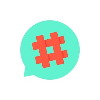 Zielony dymek z czerwonym hashtagiem. koncepcja mikroblogowania, pr, popularność, bloger, kratka, siatka. na białym tle. płaski trend w nowoczesnym stylu projektowania ilustracji wektorowych