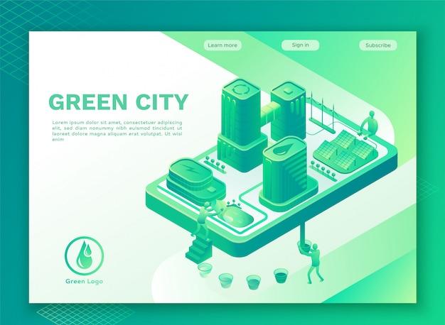 Zielony eco miasto z mądrze technologii pojęciem