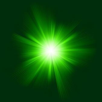 Zielony efekt świetlny wiązki streszczenie burst