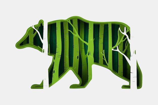 Zielony eko las w kształcie niedźwiedzia w stylu rzemieślniczym