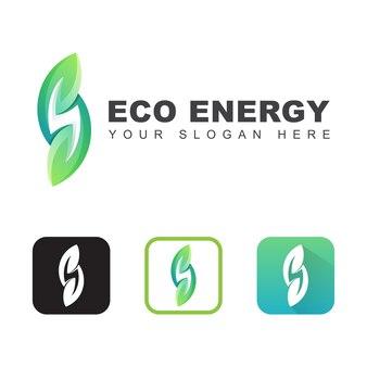 Zielony ekologia liść energii naturalny dla projektowania logo firmy, szablon