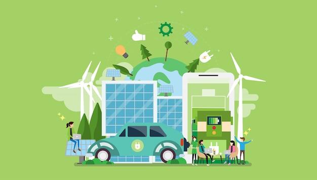Zielony ekologiczny styl życia postać malutkich ludzi
