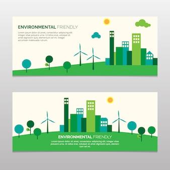 Zielony ekologiczny transparent przyjazny