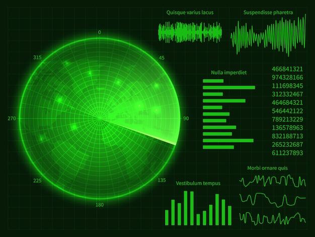 Zielony ekran radaru z mapą świata. ilustracja wektorowa interfejs cyfrowy hud