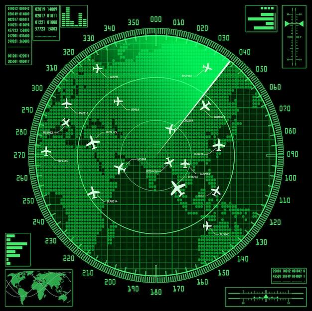 Zielony ekran radaru z samolotami i mapą świata.
