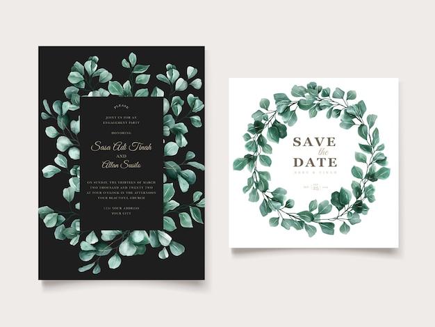 Zielony eukaliptusowy szablon zaproszenia ślubne