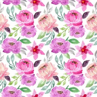 Zielony fioletowy akwarela kwiatowy wzór bez szwu