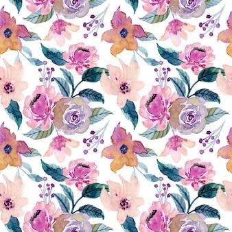 Zielony fioletowy kwiatowy wzór akwarela