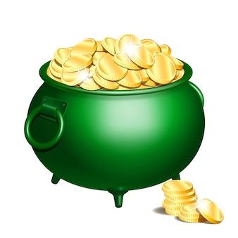 Zielony garnek ze złotymi monetami