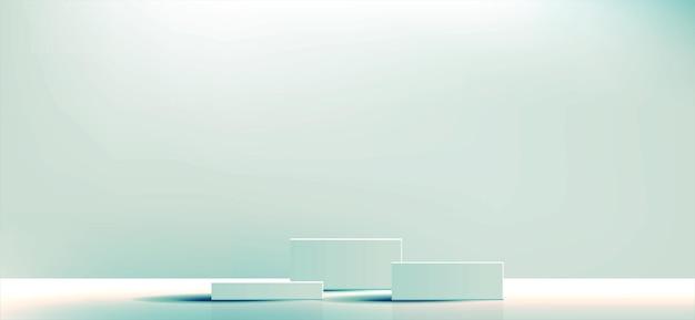 Zielony geometryczny kwadrat podium i minimalne pudełka pusta prezentacja do prezentacji produktów kosmetycznych