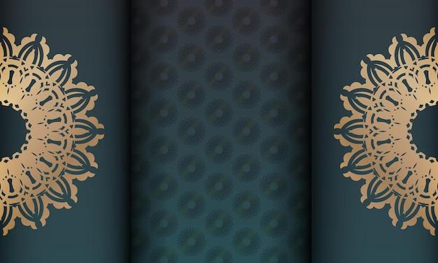 Zielony gradientowy baner ze złotym wzorem mandali do projektowania pod twoim logo lub tekstem