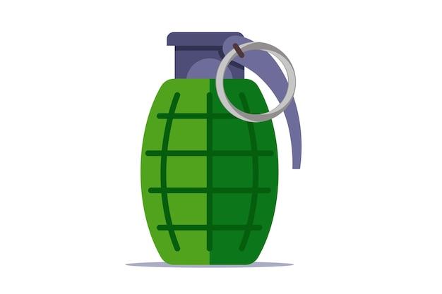 Zielony granat z chika na białym tle. płaska ilustracja.