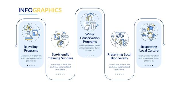 Zielony hotel oferuje szablon wektor infografikę. ekologiczne elementy projektu prezentacji środków czyszczących. wizualizacja danych w 5 krokach. wykres osi czasu procesu. układ przepływu pracy z ikonami liniowymi