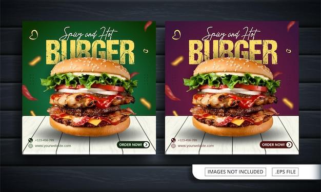 Zielony i czerwony baner mediów społecznościowych na sprzedaż burgerów