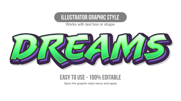Zielony i fioletowy efekt tekstowy graffiti