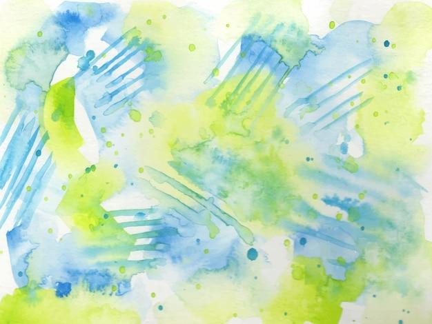 Zielony i niebieski akwarela streszczenie tekstura tło
