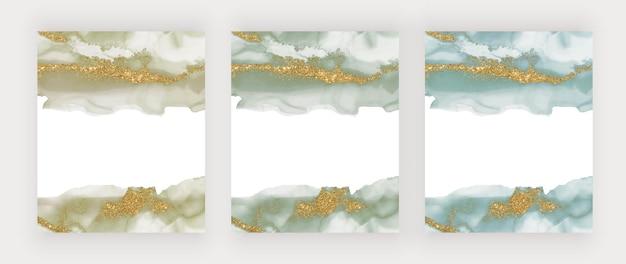 Zielony i niebieski ze złotym brokatem akwarela tekstury