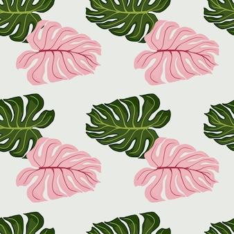 Zielony i różowy kolorowy liść monstera kształtuje wzór. jasnoniebieskie tło. prosty styl. tło dekoracyjne do projektowania tkanin, nadruków na tekstyliach, zawijania, okładek. ilustracja wektorowa.