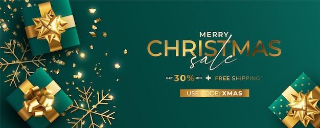 Zielony i złoty realistyczny szablon transparent świątecznej sprzedaży