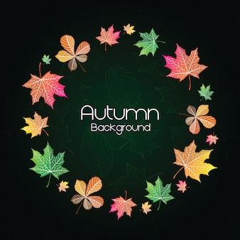 Zielony jesień tło