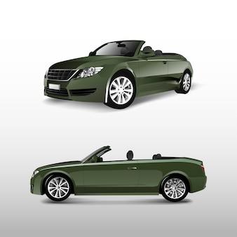 Zielony kabriolet odizolowywający na białym wektorze