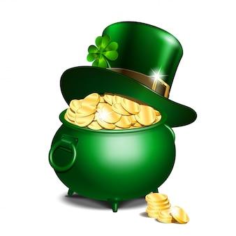 Zielony kapelusz krasnoludek z liśćmi koniczyny na doniczce pełnej złota