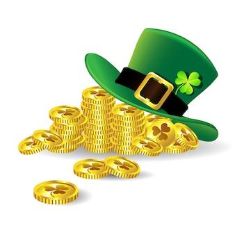 Zielony kapelusz świętego patryka z shamrock na złotej monety