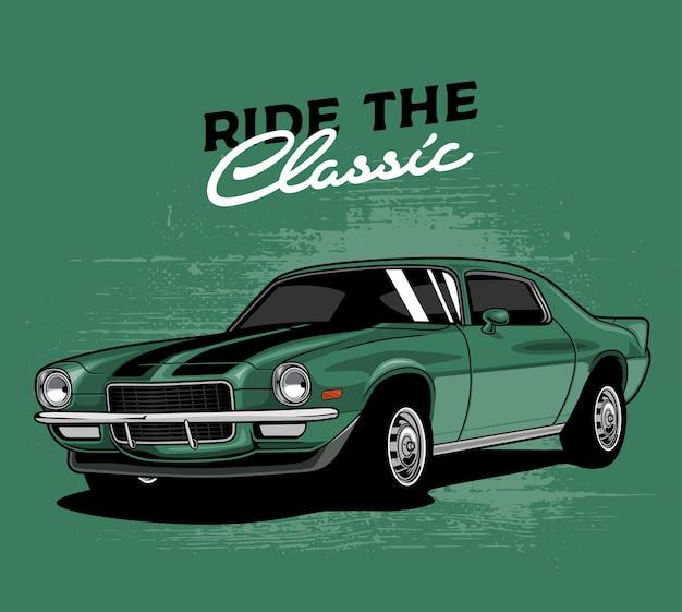 Zielony klasyczny samochód
