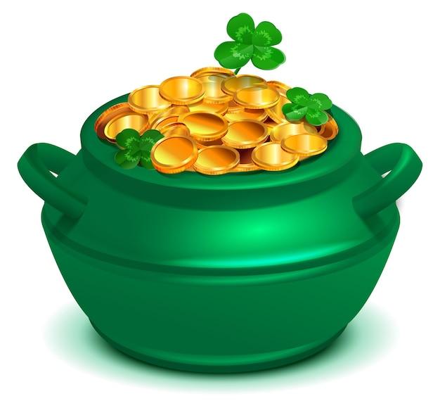 Zielony kociołek pełen złotych monet. symbol czterolistnej koniczyny szczęścia dzień świętego patryka. ilustracja kreskówka