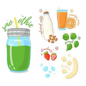 Zielony koktajl owoców i warzyw. koktajle ze szpinakiem, mlekiem migdałowym i bananem. przepis wegetariańskie koktajle w szklanym słoju. .
