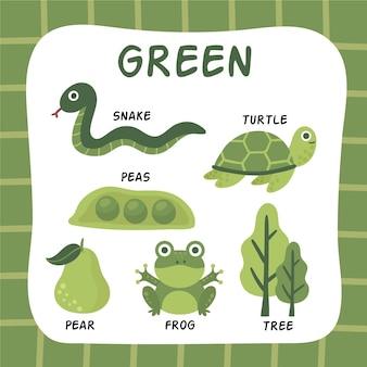 Zielony kolor i słownictwo ustawione w języku angielskim