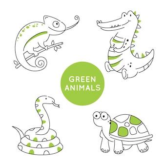 Zielony kontur zwierząt na białym tle.