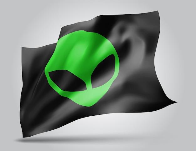 Zielony kosmita z kosmosu na wektor 3d flaga na białym tle
