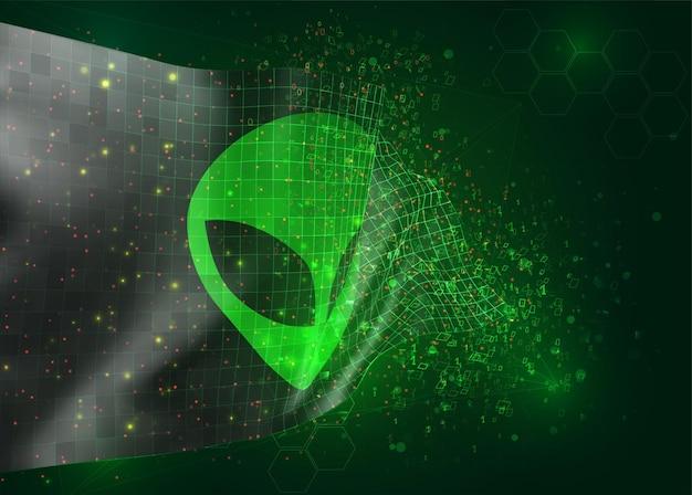 Zielony kosmita z kosmosu na wektor 3d flaga na tle z wielokątami i numerami danych