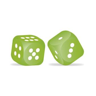 Zielony kostek na białym tle