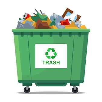 Zielony kosz na śmieci jest pełen odpadów. płaska ilustracja wektorowa