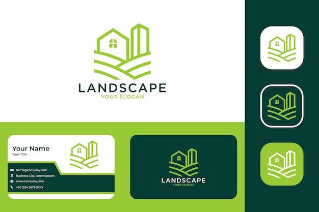 Zielony krajobraz z projektem logo domu i budynku oraz wizytówką
