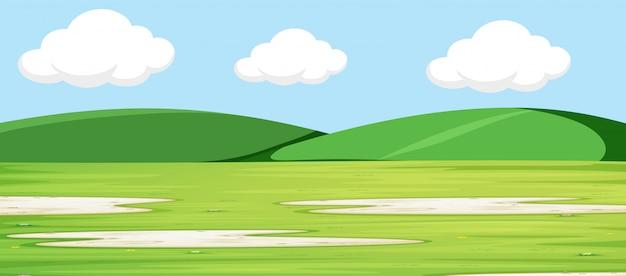 Zielony krajobraz ze wzgórzami