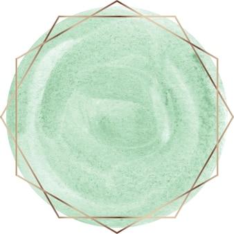 Zielony kształt akwarela z ramą złotej linii