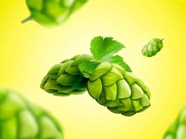 Zielony kwiat chmielu unoszący się w powietrzu na ilustracji 3d