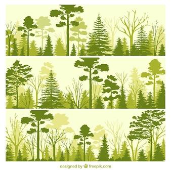 Zielony las banery