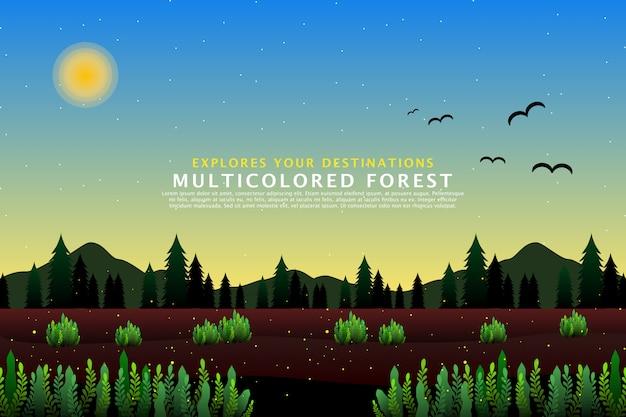 Zielony las sosnowy szablon krajobrazu
