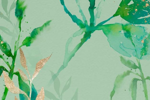 Zielony liść akwarela tło wektor estetyczny sezon wiosna