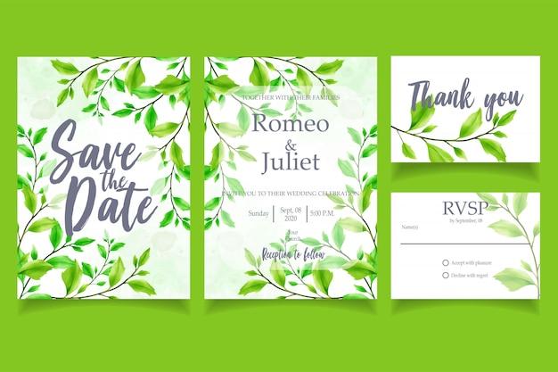 Zielony liść akwarela zaproszenie wesele karty kwiatowy szablon