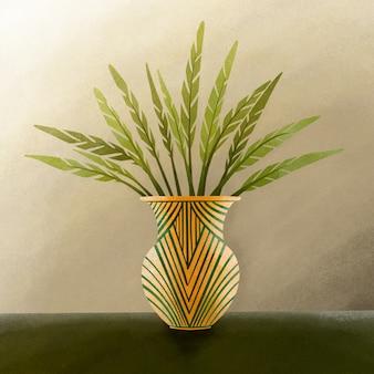 Zielony liść na złocistej wazie ilustraci